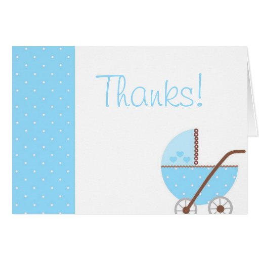Along Came A Carriage Blue Baby Shower Thank You Cards