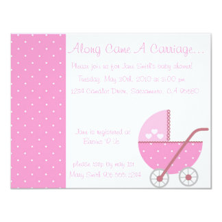 Along Came A Carriage Pink Baby Shower Invitation