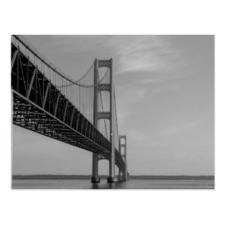 Along Mackinac Bridge Grayscale Postcard