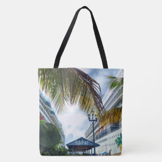 Alongside Cruise Ships Monogrammed Tote Bag