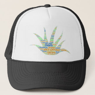 Alove Vera illustrated with cities of Florida USA Trucker Hat