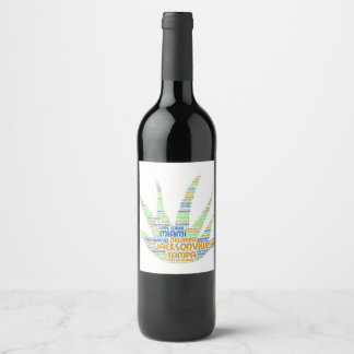 Alove Vera illustrated with cities of Florida USA Wine Label
