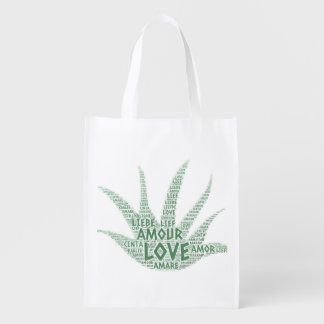 Alove Vera Plant illustrated with Love Word Reusable Grocery Bag