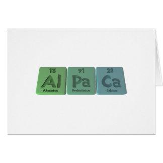 Alpaca-Al-Pa-Ca-Aluminium-Protactinium-Calcium Greeting Cards