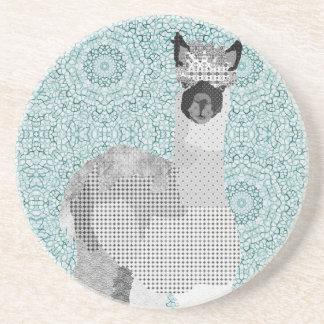 Alpaca Art Black & Blue Coaster