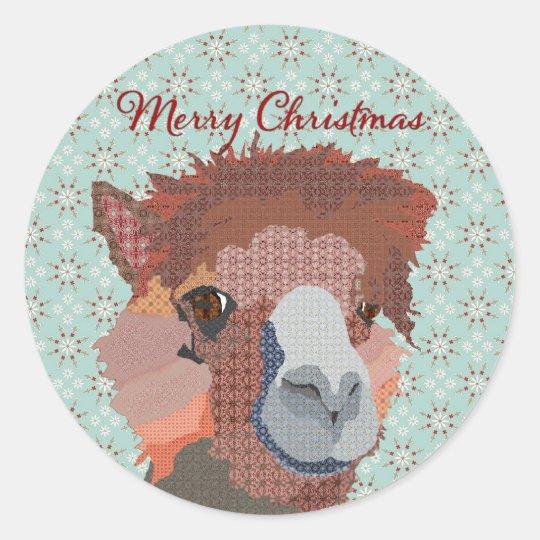 Alpaca Art Christmas Sticker