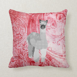 Alpaca Art Red  MoJo Pillow Cushion