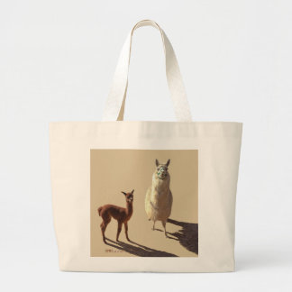 Alpaca baby and mother photograph tote.tan. large tote bag