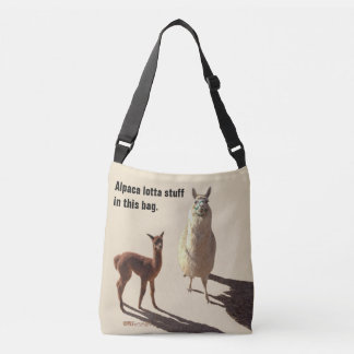 Alpaca baby with mother.tan background. crossbody bag
