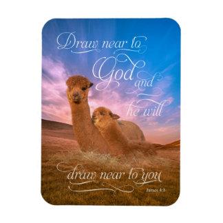 Alpaca Bible Verse Draw Near to God Photo Magnet