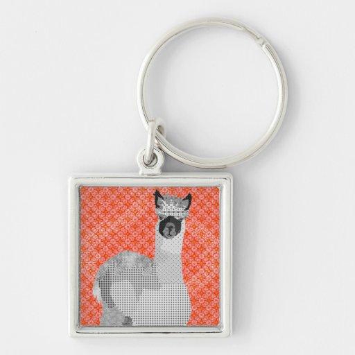 Alpaca Black & White Art Keychain