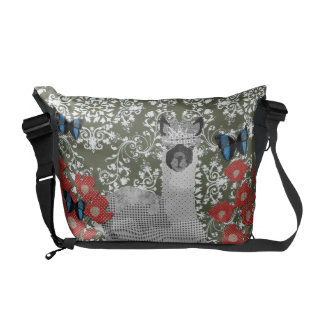 Alpaca Boho Butterflies Olive Damask Messenger Bag