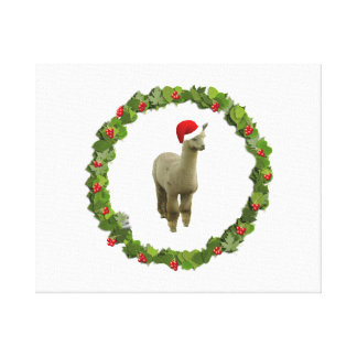 Alpaca Christmas Wreath Stretched Canvas Prints