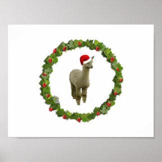 Alpaca Christmas Wreath Print