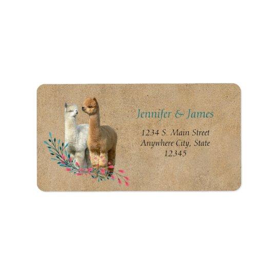 Alpaca Country Wedding Address Return Labels