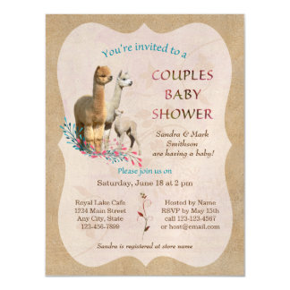 Alpaca Couples Baby Shower Magnetic Invitations