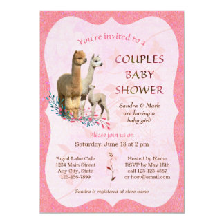 Alpaca Family Couples Baby Shower Invitation Girl