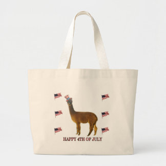 Alpaca Happy 4th of July Large Tote Bag