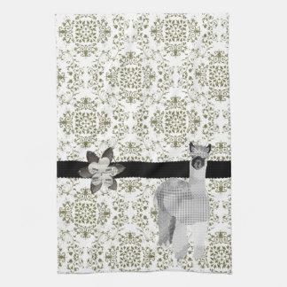 Alpaca Olive Damask  MoJo Kitchen To Tea Towel