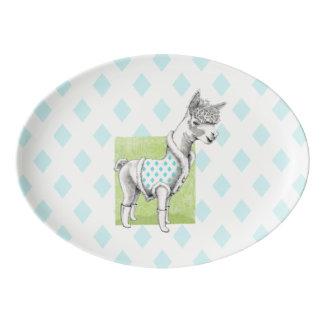 Alpaca on Green Porcelain Coupe Platter