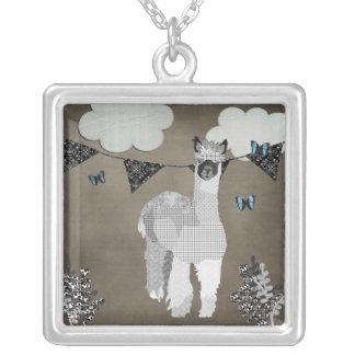 Alpaca Shades Of Grey Square Pendant Necklace