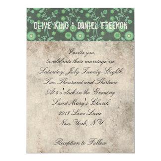 Alpaca White & Floral Ornate Wedding Invitation