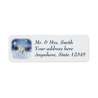 Alpaca Winter Night Christmas Address Labels
