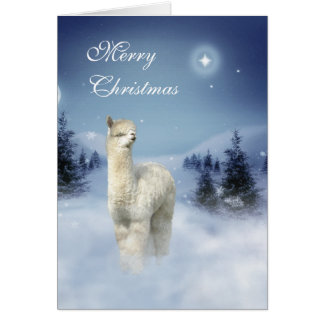 Alpaca Winter Night Christmas Cards
