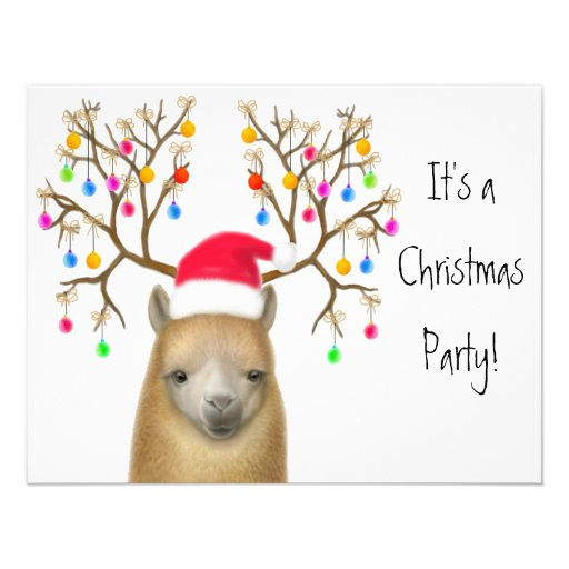 Alpaca Xmas Party Invitation