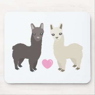 Alpacas and Heart Mouse Pad