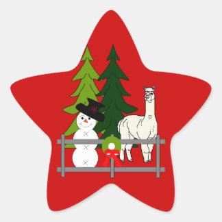 Alpacas Fun In The Snow Christmas Star Stickers