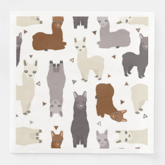 Alpacas Geo Pattern Disposable Napkin