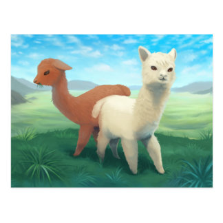 Alpacas on the Meadow - cute animal painting Postcard