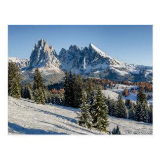 Alpe di Siusi winter landscape postcard