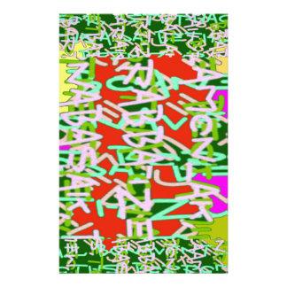 Alpha alphabet soup art abstract beauty custom stationery