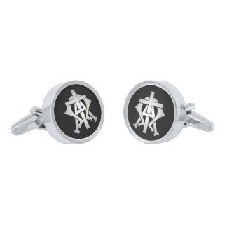 Alpha and Omega Silver Finish Cuff Links