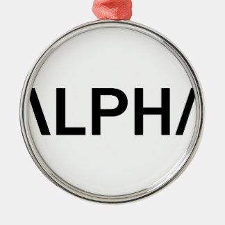 Alpha (BLACK) Metal Ornament