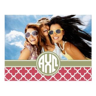 Alpha Chi Omega   Monogram and Photo Postcard