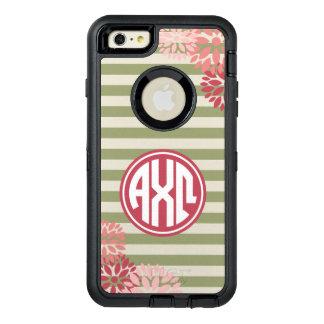 Alpha Chi Omega   Monogram Stripe Pattern OtterBox Defender iPhone Case