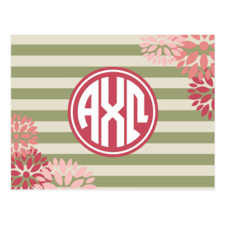 Alpha Chi Omega   Monogram Stripe Pattern Postcard