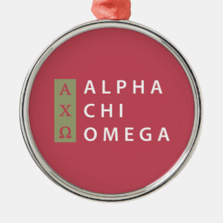 Alpha Chi Omega | Stacked Logo Metal Ornament