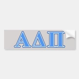 Alpha Delta Pi Light Blue and Dark Blue Letters Bumper Sticker