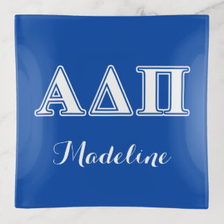 Alpha Delta Pi Light Blue and White Letters Trinket Trays
