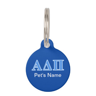 Alpha Delta Pi Light Blue Letters Pet Tag