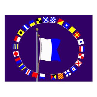 """Alpha """"Diver Down"""" Nautical Signal Flag Postcard"""