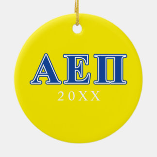 Alpha Epsilon Pi Blue Letters Ceramic Ornament