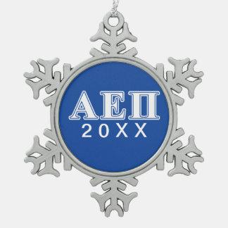Alpha Epsilon Pi White and Blue Letters Snowflake Pewter Christmas Ornament