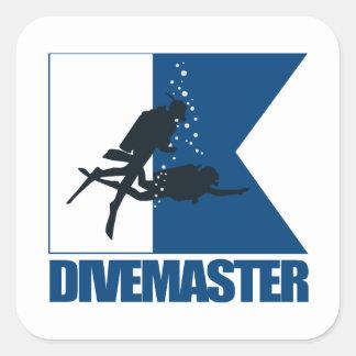 """""""Alpha Flag -Divemaster"""" Square Sticker"""