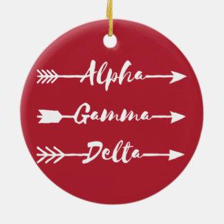 Alpha Gamma Delta Arrow Ceramic Ornament