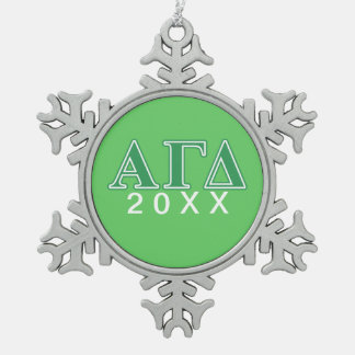 Alpha Gamma Delta Green Letters Snowflake Pewter Christmas Ornament